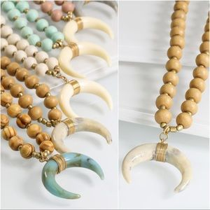 Bone Crescent Horn Necklace